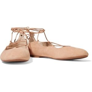 Sam Edleman Natural Suede Leather Lace Up Ballet